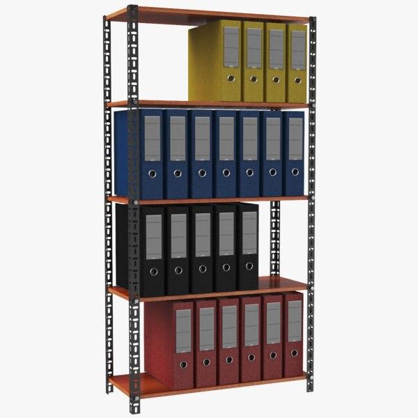 3D real office binders shelf model
