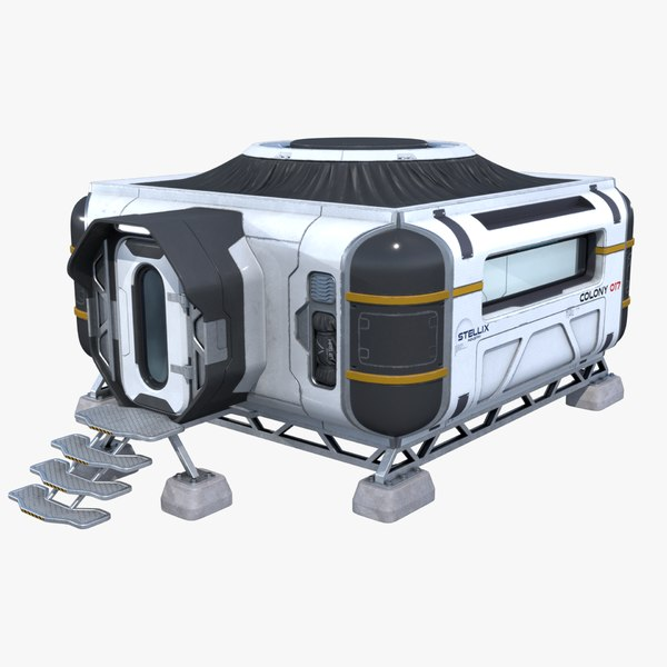 sci-fi modular building interior 3D