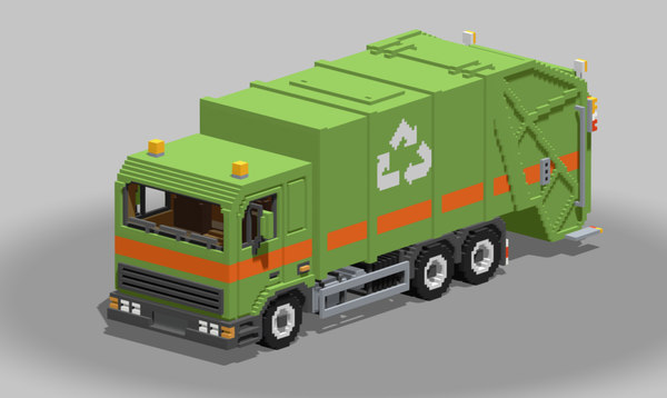 voxel garbage truck 3D model
