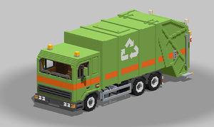 voxel garbage truck 3D model