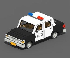 voxel police car 3D