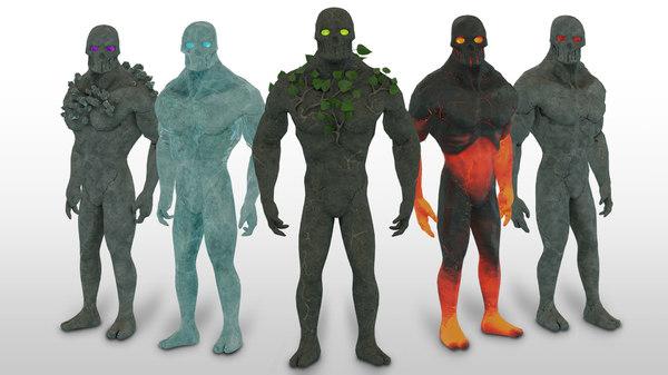 3D elemental golem character pack