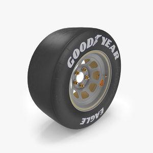 low-poly race car wheel rim 3D