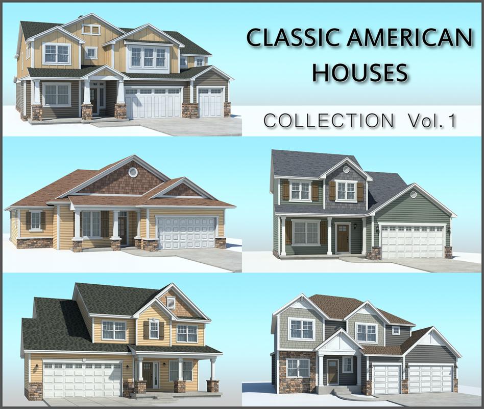 3D classic american houses