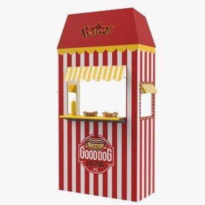 3D hot dog booth mustard