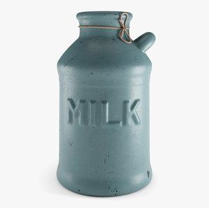 3D old milk jug model