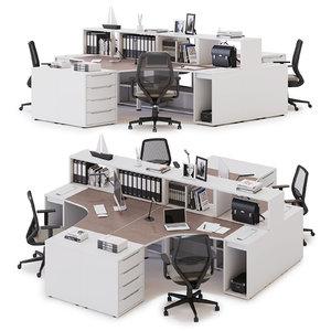 3D office workspace las model
