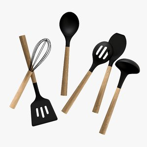 3D realistic black silicone utensils
