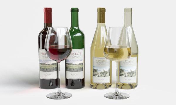 3D wine bottles glasses