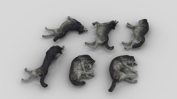 3D pack 6 dead wolfs