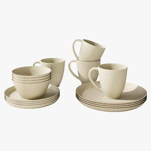 realistic wilder dinnerware set 3D