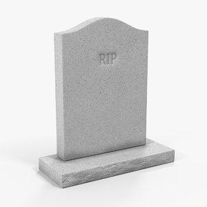 granite gravestone stone 3D model