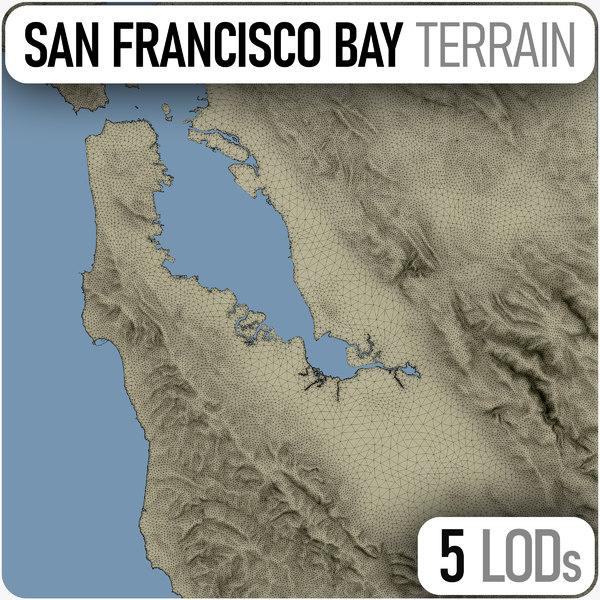 terrain san francisco bay 3D model