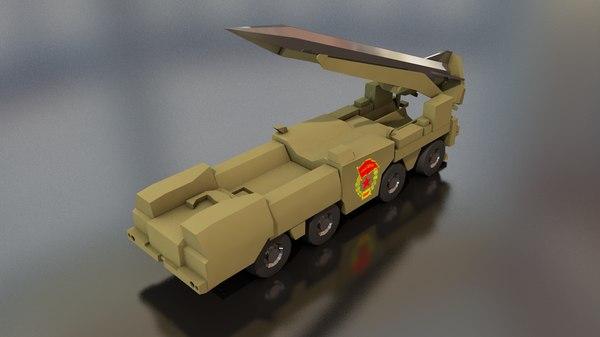 3D scud b soviet missile launcher model