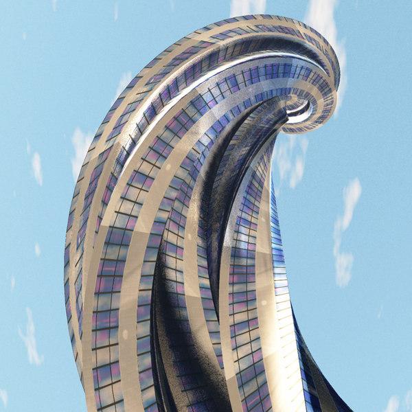 spiral tower futuristic building 3D model