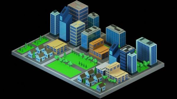 isometric city 3D model