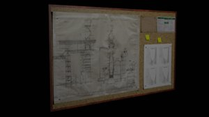 bulletin board 3D model