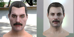 3d freddie mercury singer head male model