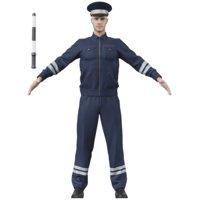 3D policeman man police