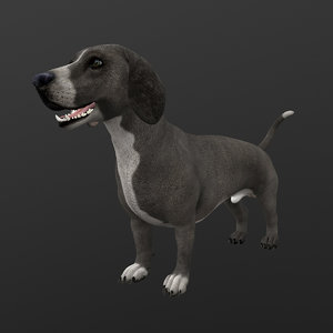rigged dog idle 3D model