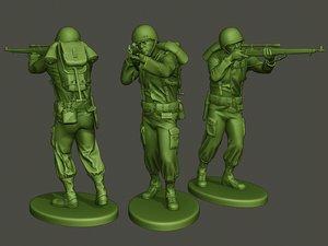 american soldier ww2 shooting2 3D