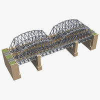 3D bridge rail railway model