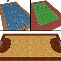 3D model volleyball basketball handball courts