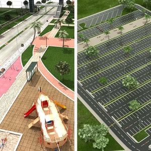 3D car city park