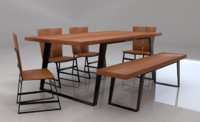 Tiber Solid Wood Six Seater Dining Set