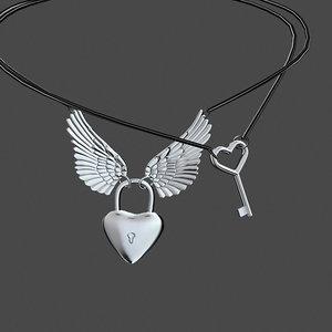 necklace heart lock model