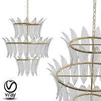 3D model cascading chandeliers noir