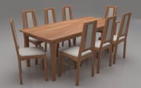 Kuzel Solid Wood Eight Seater Cushioned Dining Set