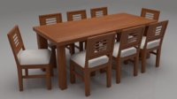 Acropolis Solid Wood Cushioned 8 Seater Dining Set