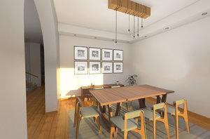 3D wooden light fixture modern model