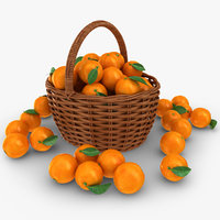 3D realistic orange basket model