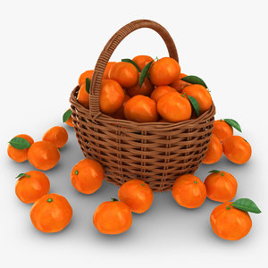 realistic tangerine basket 3D