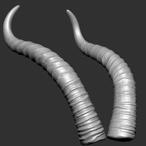 3D gerenuk antelope horns