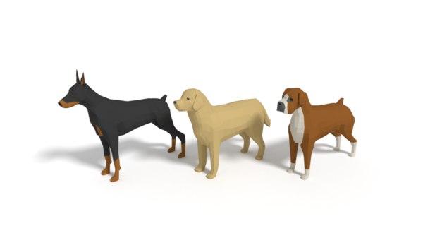 dogs boxer labrador 3D model