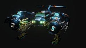 3D rusty spaceship