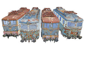 trains locomotives pack railroad tracks 3D model