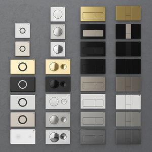 flush buttons installation viega 3D model
