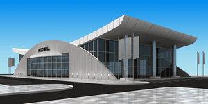building showroom exterior interior 3D model