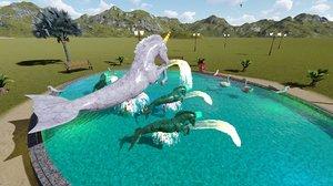 horse fountain 3D model