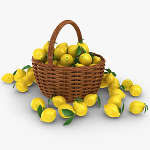 3D realistic lemon basket