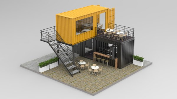 3D shipping container cafe restaurant model