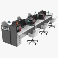 3D real office cubicle