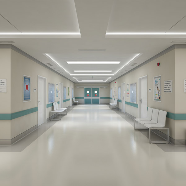 3D hospital hallway corridor model