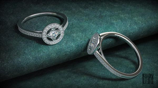 3D elegant diamond ring model