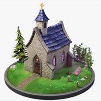 stylized chapel 3D model
