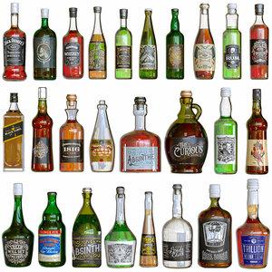 bottles alcohol 3D model